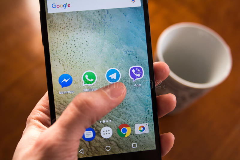 Social network applications. Moscow, Russia - January 30, 2017: Social network applications on Nexus smartphone display stock image