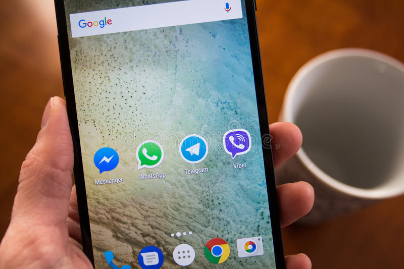 Social network applications. Moscow, Russia - January 30, 2017: Social network applications on Nexus smartphone display stock photos