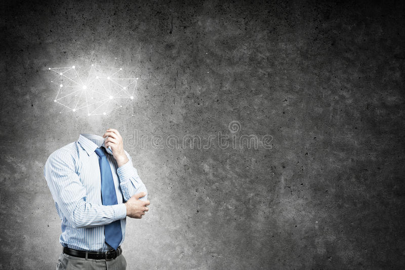 Social network as business concept. Headless businessman with social networking concept instead of head royalty free stock images