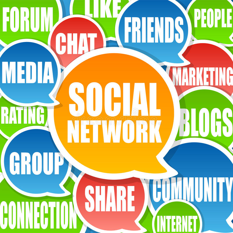 Social Network Background. Social Media Network Background in chat bubbles royalty free illustration