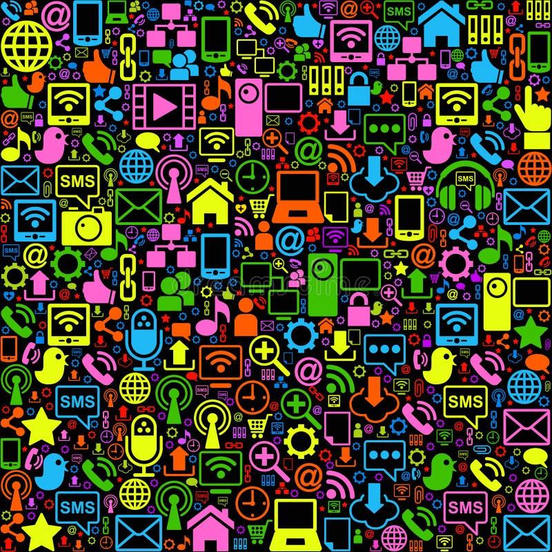 Social network background coloured. Vector background of the icons social computer network vector illustration