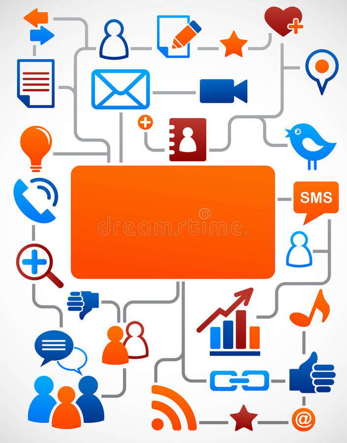 Download Social Network Background With Media Icons Stock Vector - Image: 19656914