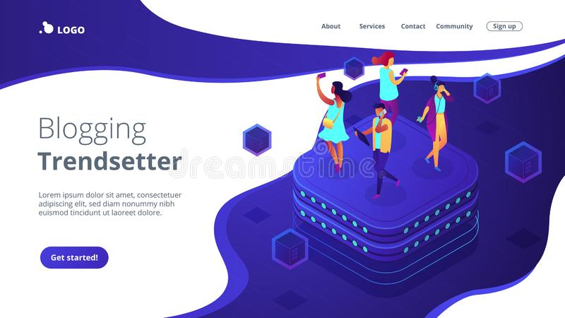 Social network behavior isometric 3D landing page. Bloggers using mobile phones and tablets walking on server. Social network behavior and digital society royalty free illustration