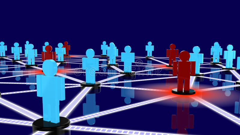 Social network with blue guys and red guys posing as threats. Within the network closeup royalty free illustration