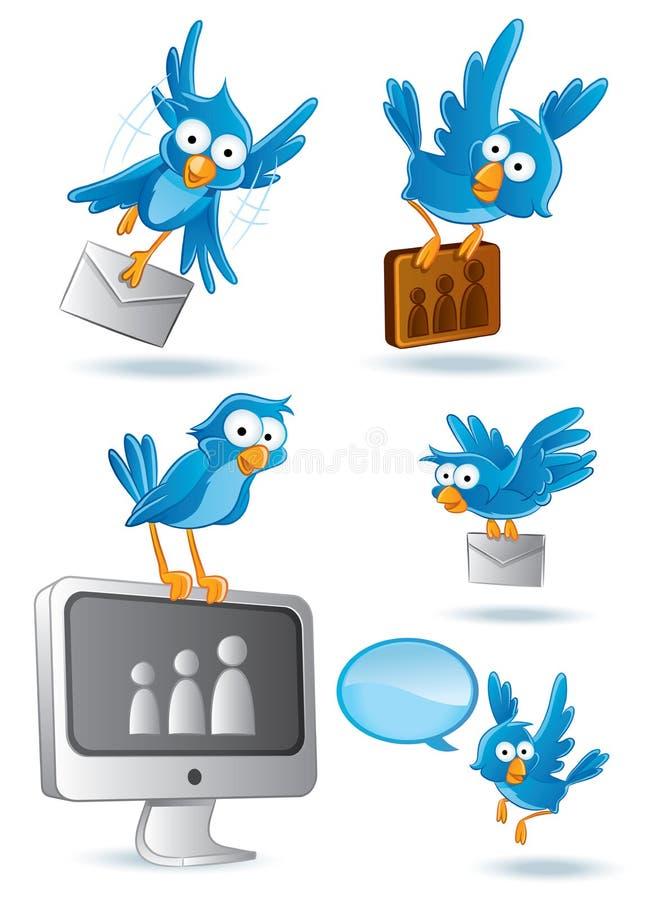 Social Network Bluebird. Collections set vector illustration