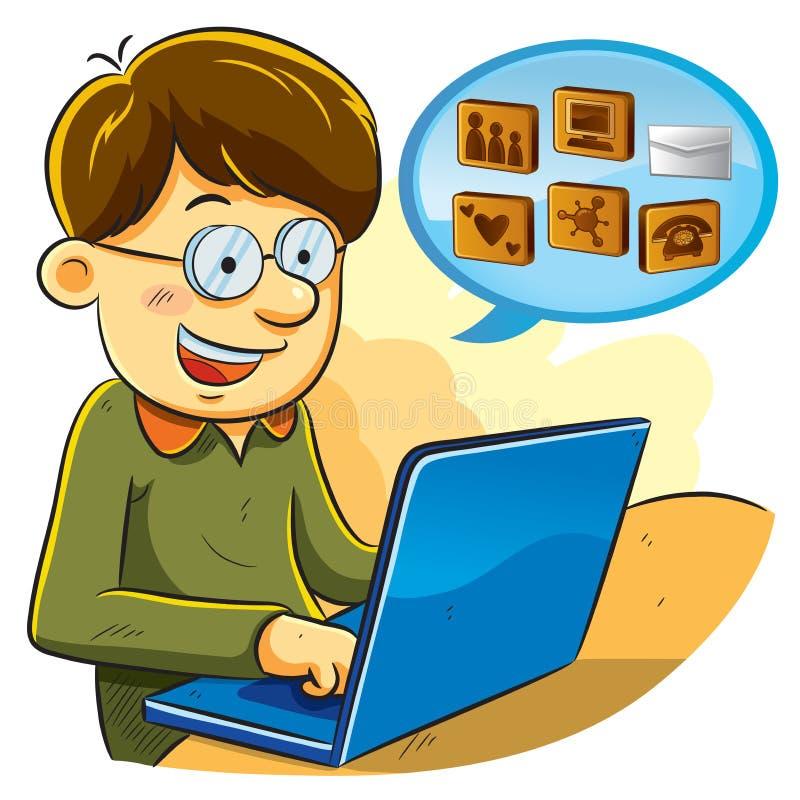 Social Network Boy. Cartoon illustration of social network boy chatting with laptop vector illustration