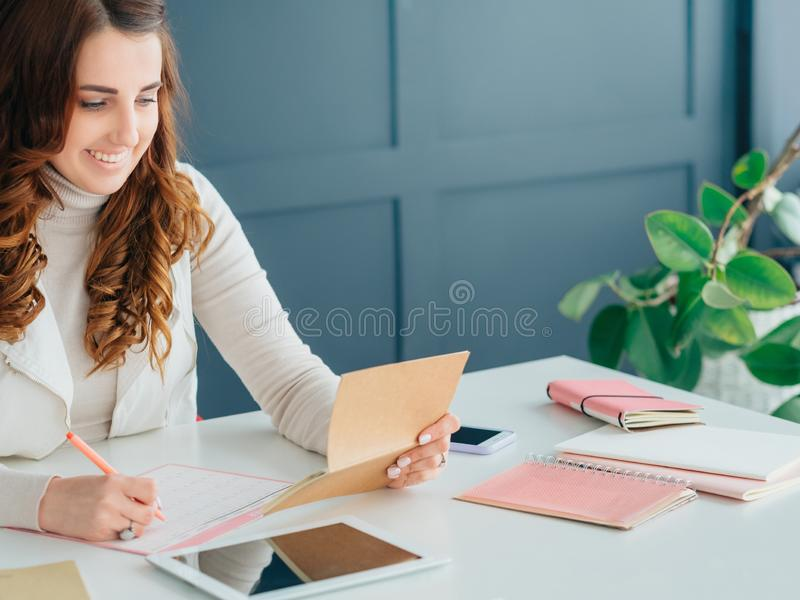 Social network business marketing smm woman tablet royalty free stock photography
