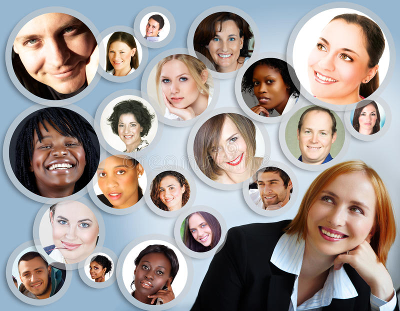 Social network of businesswoman. Illustration of happy young businesswoman with her social network of friends and clients stock illustration