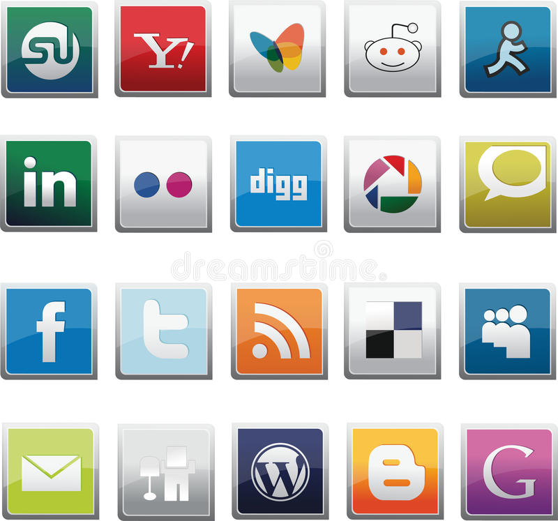 SOCIAL NETWORK BUTTONS SET royalty free illustration