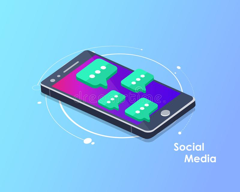 Social network and chatting vector. Global communication, e mailing, web calls. Smart phone with speech bubbles. Flat vector illus. Tration royalty free illustration