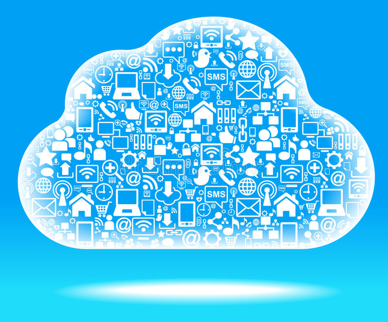 Social network cloud blue. Social network, communication in the global computer networks vector illustration