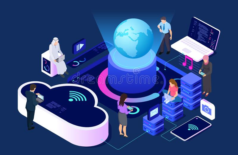 Social network and cloud service vector concept. Isometric connecting people with wi-fi and devices illustration. Internet cloud network, device computer royalty free illustration