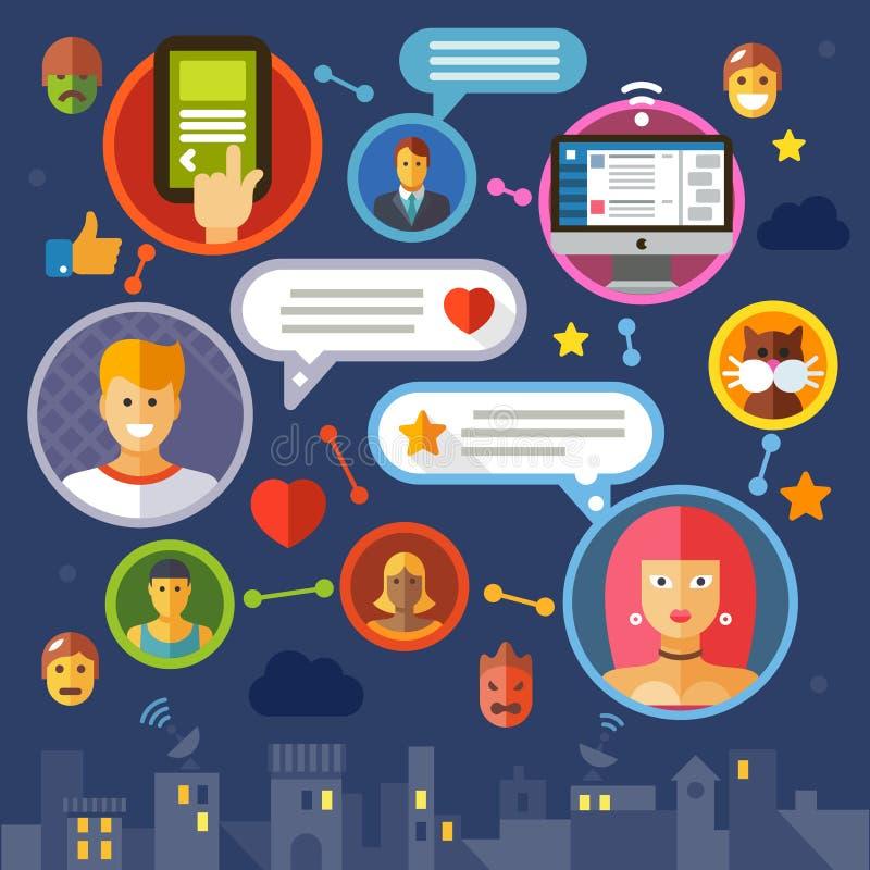 Social network. Color vector flat illustration stock illustration