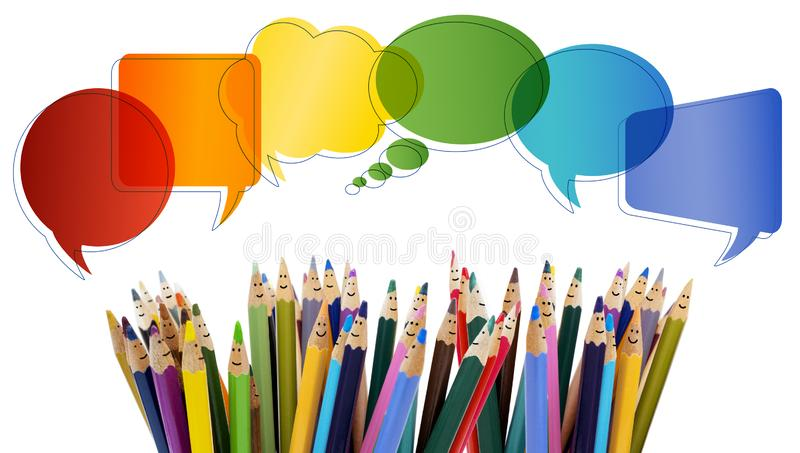 Social network communication. Colored pencils funny faces of people smiling. Talking. Group of people talking. Dialogue group of p royalty free stock image