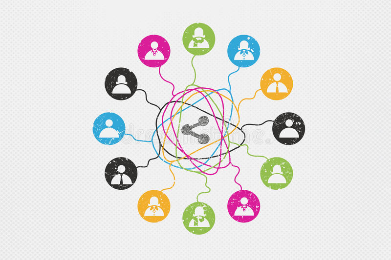 Social Network and communication concept. Social Network concept with complicated line of people connected to each others royalty free illustration