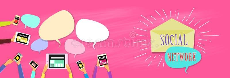 Social Network Communication Concept Hands Holding Gadgets Chat Box. Flat Vector Illustration royalty free illustration