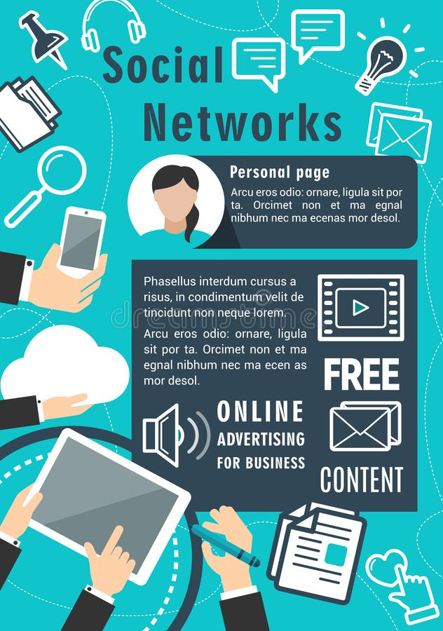 Social network communication vector poster royalty free illustration