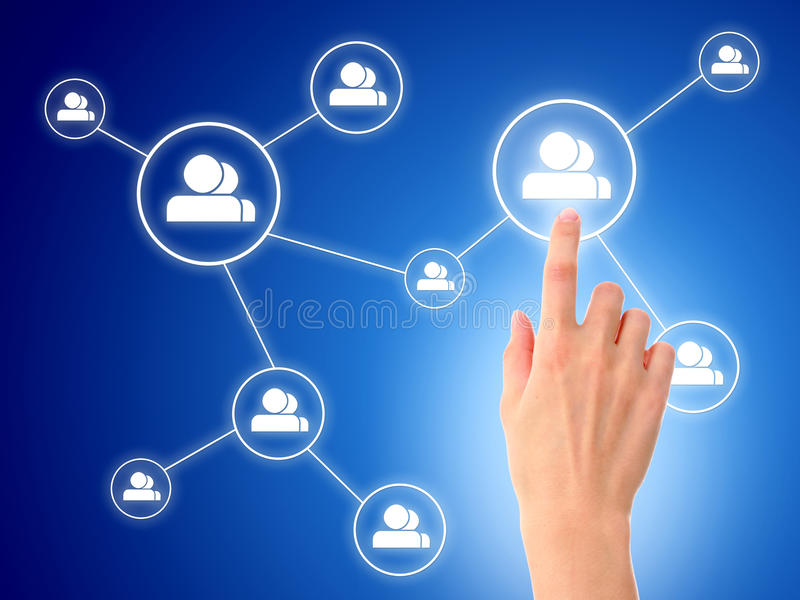 Social network concept. Hand and social network model. Over blue background