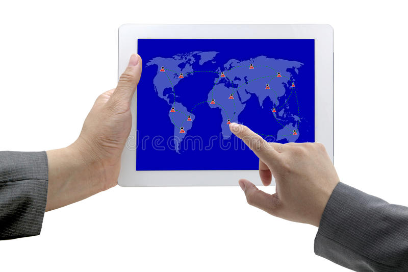 Social network concept. Business hand touch on social network on tablet stock image