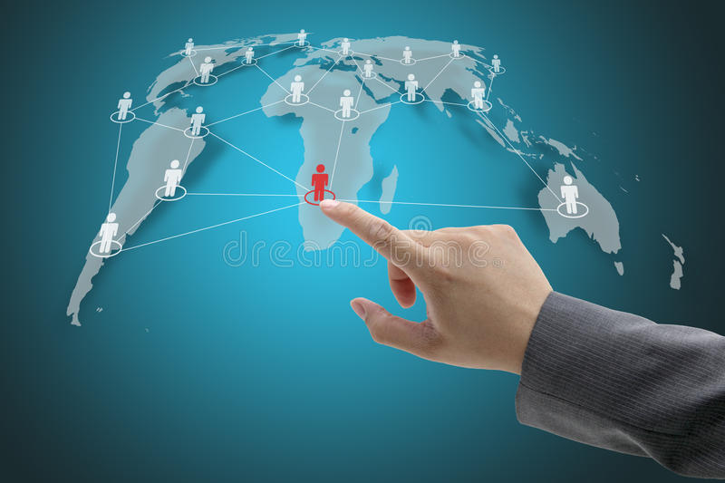 Social Network Concept. Business Hand Touch on Social Network Concept with World Map stock photo