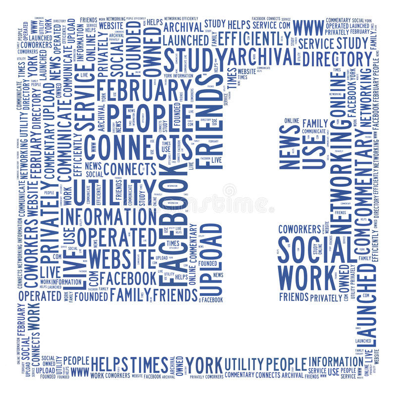 Social network concept. Social network facebook symbol in text illustration. Image is useful for publication relating to social networking and media news