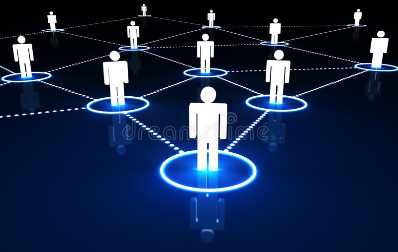 Social Network Concept. Internet and social network concept with connection of 3d people by dotted neon lines on dark blue background stock illustration