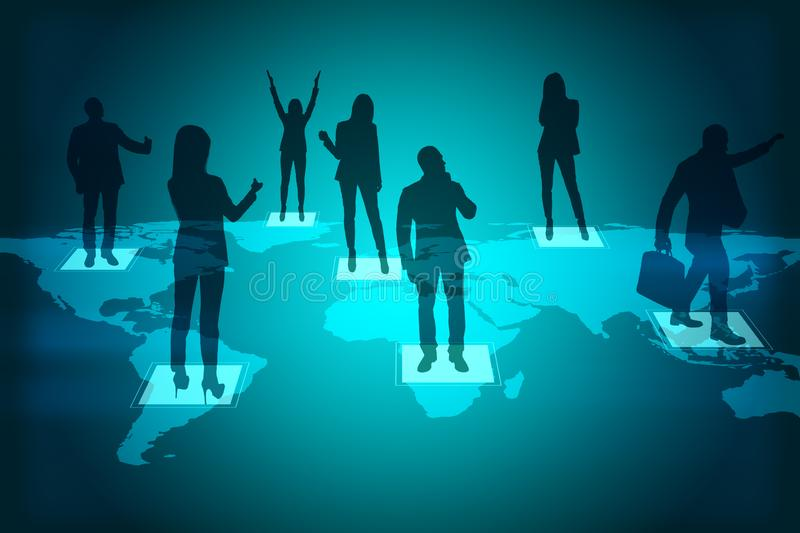 Social network concept. Abstract map with people silhouettes. Social network concept. Double exposure stock photography