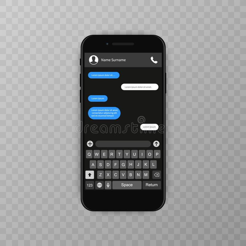 Social network concept. Blank template. Messenger window. Chating and messaging concept. Chat app template whith mobile. Keyboard. Vector illustration Message stock illustration
