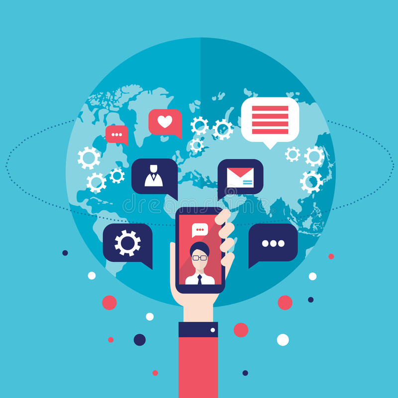 Social network concept Businessman hand with mobile smart phone Global communication infographic elements. Vector illustration vector illustration