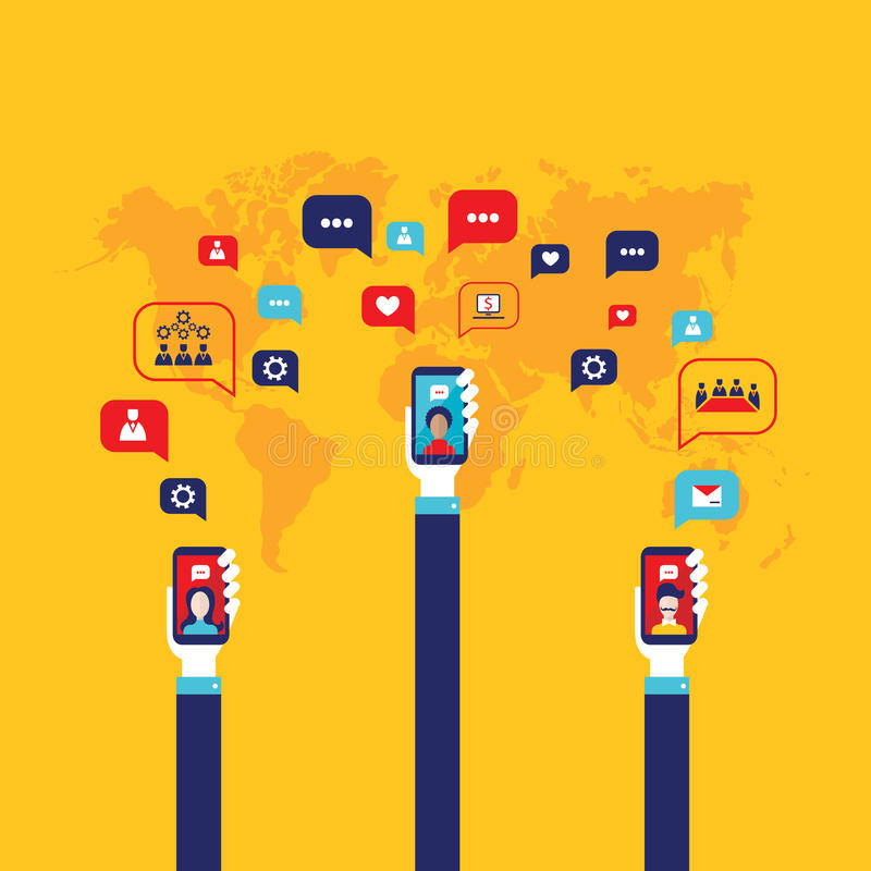 Social network concept Businessman hand with mobile smart phone Global communication infographic elements. Vector illustration royalty free illustration