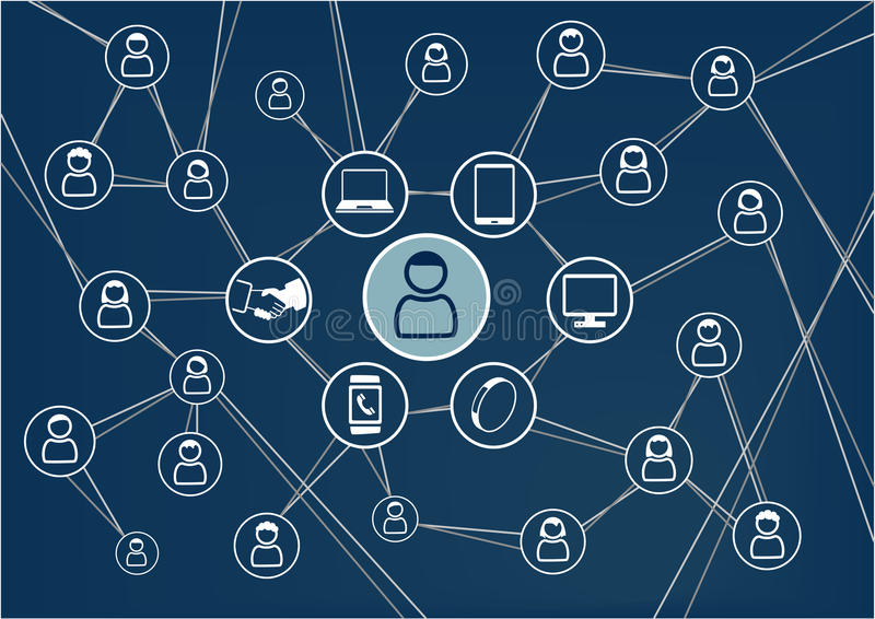 Social network concept. Dark blue background. Person connected to friends and family via mobile devices stock illustration