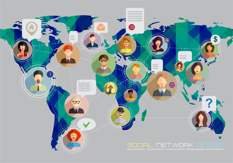 Social network concept. Flat design for web sites and infographic design. Earth Geometric Map. vector illustration
