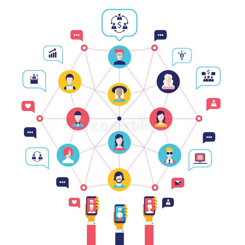 Social network concept Global communication infographic elements stock illustration