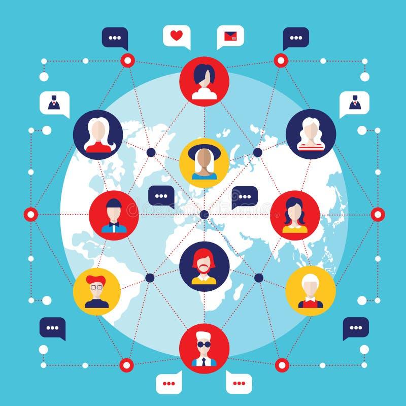 Social network concept Global communication infographic elements stock illustration