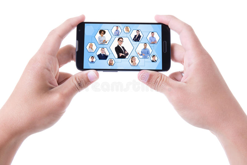 social network concept - hands holding mobile smart phone isolated on white royalty free stock image