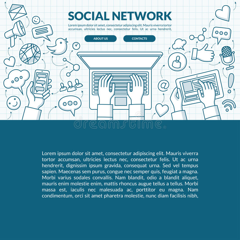 Social network concept illustration with the set of media icons royalty free illustration