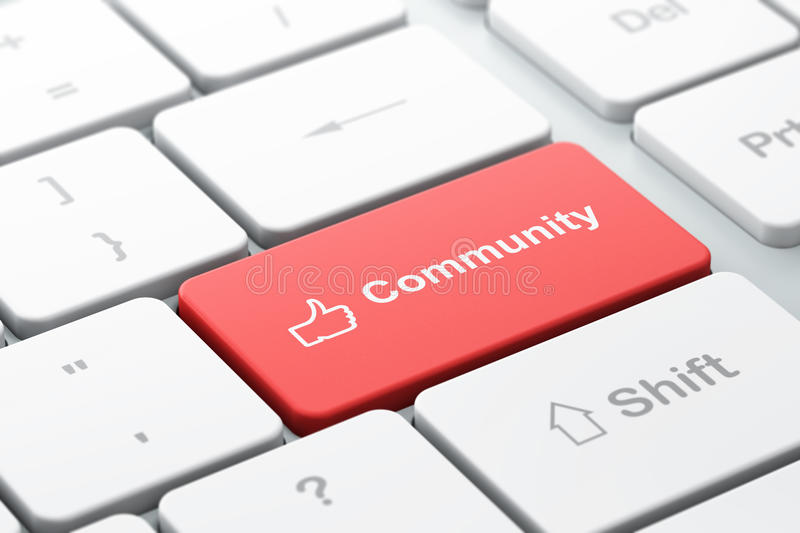 Social network concept: Like and Community on computer keyboard. Social network concept: computer keyboard with Like icon and word Community, selected focus on royalty free illustration