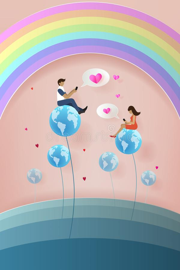 Social network concept. Man giving his mail with heart for woman royalty free illustration