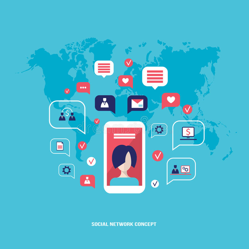 Social network concept Mobile smart phone with speech bubbles and business icons Infographic elements stock illustration