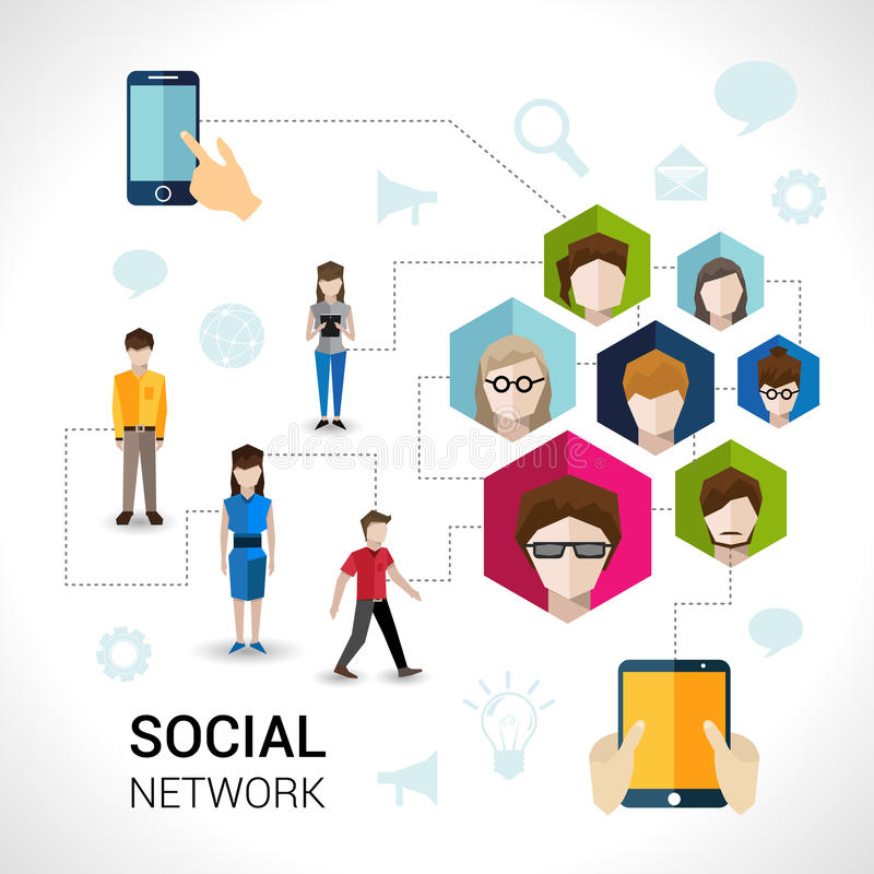 Social network concept stock illustration