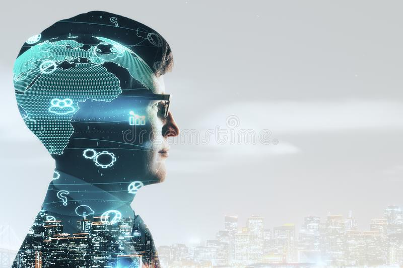 Social network concept. Side view of young businessman with social network on night city background with copyspace. Communication concept. Double exposure stock image
