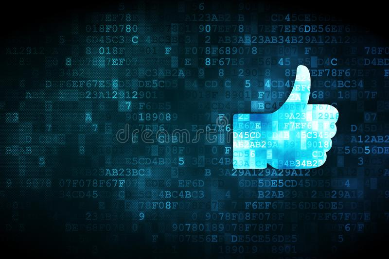 Social network concept: Thumb Up on digital background. Social network concept: pixelated Thumb Up icon on digital background, empty copyspace for card, text stock illustration