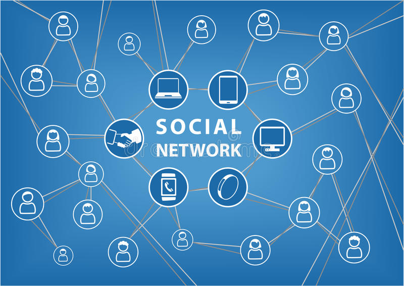 Social network concept. Vector background with connected devices and friends. Lines of communication between groups and people within a global network. Icons vector illustration