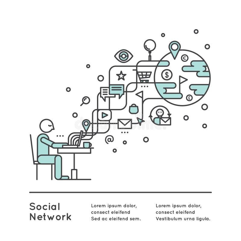 Social Network Concept. Vector Icon Style Illustration of Social Network Concept using wireless connection via WiFi. Man using laptop stock illustration