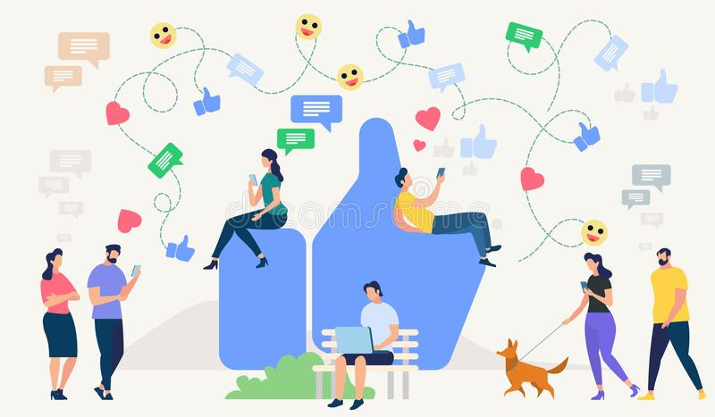 Social Network Concept. Vector Illustration. Social Network Site and Emoji Art Concept. Communication systems, Digital Technologies and Messaging. Networking vector illustration