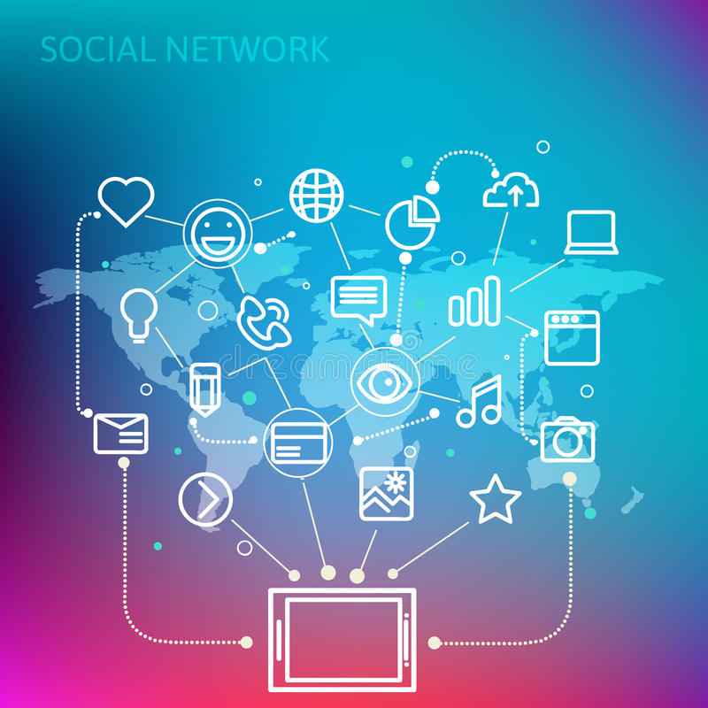 Social network. Concept for web and tablet PC. Line style vector illustration eps 10 vector illustration