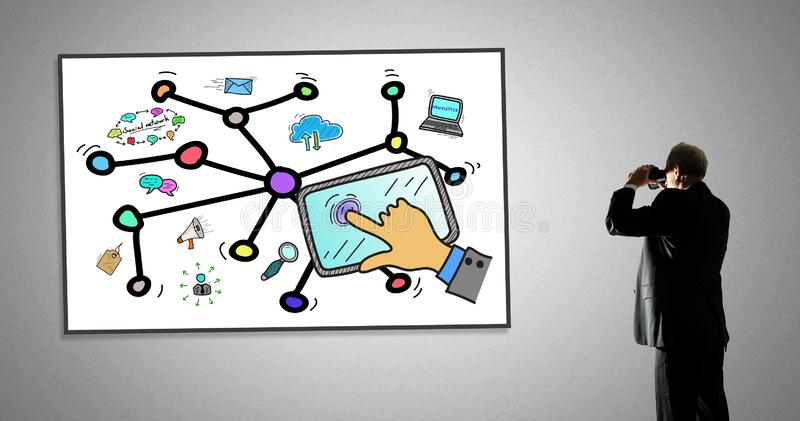 Social network concept on a whiteboard. Man looking at social network concept through binoculars stock illustration