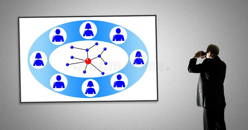 Social network concept on a whiteboard stock photography