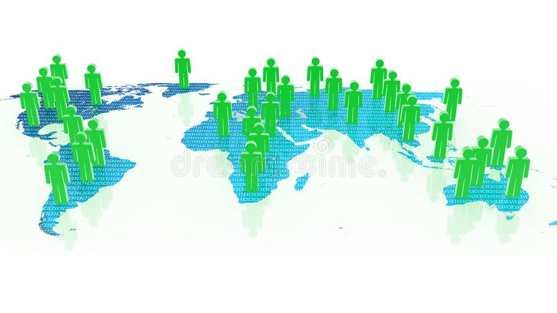 Download Social Network Concept On World Globe, 3D Images Stock Illustration - Illustration: 33427422