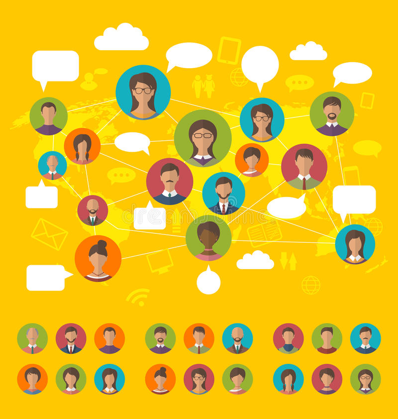 Social network concept on world map with people icons avatars, f stock illustration